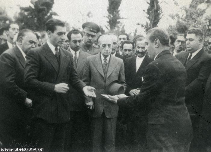 بازدید محمدرضا پهلوی از آمل سال ۱۳۲۷ عکس ۱