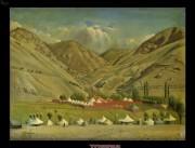 اردوی ناصر الدین شاه در بلده - نقاشی کمال الملک - 1265 خورشیدی